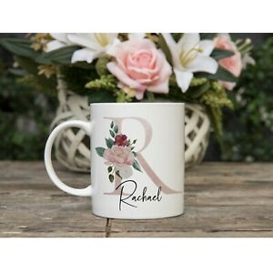 Personalised Mug Floral Initial  Gift for Mum Friend Sister Birthday Present Her