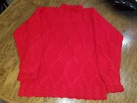 Cesarani Woman's or Mans Red Pullover hand knit Sweater Size Med 100% Wool