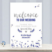 Personalised Welcome To Our Wedding Sign Poster in Silver Grey & Navy Blue SN1