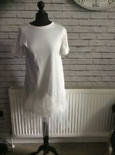 Bnwt ladies T-shirt dress frilly one size  white really pretty