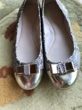 Coach Ballet Flats Slip On Shoes Size 8 B Roccia Snakeskin w/ Gold Toe  and Bow