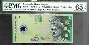 PMG 65 GEM EPQ Malaysia 5 Ringgit Polymer Note(+FREE 1 B/note) #D7282