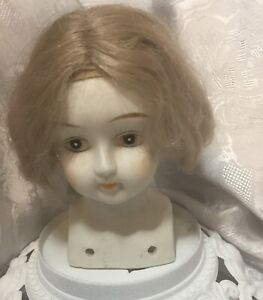 OLD LARGE VINTAGE BISQUE HALF DOLL WITH WIG PIN CUSHION DOLL