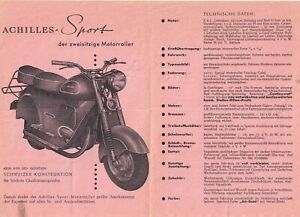 Prospekt    ACHILLES - Sport   Motorrad  WERBUNG    Oldtimer