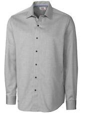 Cutter & Buck Mens Charcoal Button Down LS Wrinkle Resistant Dress Shirt Size XL