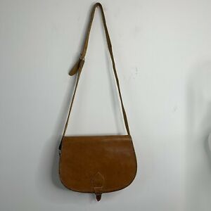 Leather 70s Style Hippie Boho Saddle Cartridge Cross Body Shoulder Satchel Bag