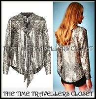 NEW KATE MOSS TOPSHOP Silver Lamé Silk Pussy Bow Tie Floral Metallic Blouse UK 8
