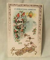 Antique Embossed Christmas Postcard GREETING Shakespeare Quote Birds & Holly