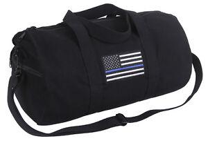Police Thin Blue Line US Flag Shoulder Duffle Gym Bag Black Rothco 2230