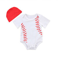 US Stock Toddler Boy Girl Baby Outfits Set Baseball Tops Romper Jumpsuit Clothes