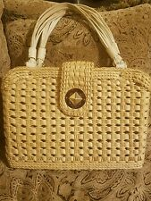 LARGE KATE SPADE LEXINGTON SQUARE WICKER STRAW BAG PURSE LEATHER FOSTER CROSSING