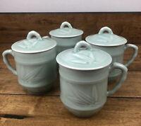 Vintage Celadon Mug Set Of 4 Lidded Green Glaze Chinese Pottery Tea Mugs