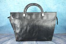 Vintage Picard Black Leather Detachable Strap Shoulder Bag Day Work Handbag