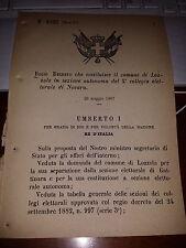 REGIO DECRETO 1887 COSTITUISCE COMUNE DI LOZZOLO IN SEZ AUTONOMA COLL EL NOVARA