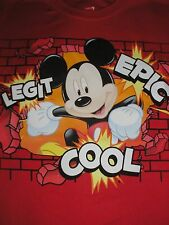 Youth Small Epic Mickey Mouse Red Cool Dri Tee Shirt Disney Parks NWT