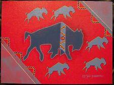 BISON DANCE Buffalo Tribal Ed Tate Nevaquaya Original Acrylic Painting 12x16 '12