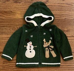 Hartstrings Baby 18m Zip Cardigan Sweater Green Snowman Reindeer Holiday Hooded