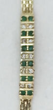 Genuine Emerald and Diamond Bracelet 14K Yellow Gold