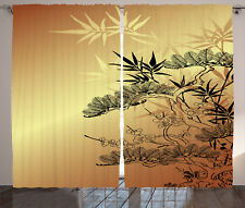 Japanese Decor Curtains Asian Bamboo Window Drapes 2 Panel Set 108x84 Inches