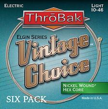 6 Pack ThroBak Vintage Choice Nickel Wound Electric Guitar Strings Light 10-46
