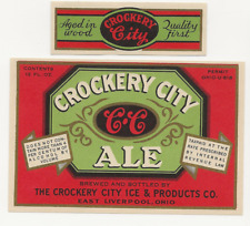 Crockery City Ale label with neck Irtp U# East Liverpool Oh