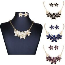 Schmuckset  Set Halskette Ohrringe Statement Kette Kragen Emaille Strass Blume
