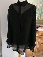£118 All Saints black Harriet sparkle shirt blouse size L UK 14 16