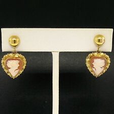 Vintage 10K Yellow Gold Heart Framed Carved Shell Cameo Screw On Dangle Earrings