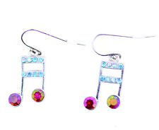 Super sweet musical note dangle earrings with crystal