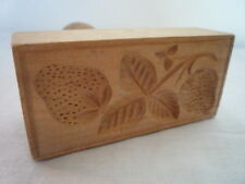 LARGE CARVED OBLONG WOOD BUTTER STRAWBERRY PRINT STAMP MOLD TREEN KITCHENALIA