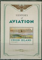 UNION ISLAND HISTORY OF AVIATION SOUVENIR SHEET  MINT NH