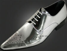 ORIGINAL CHELSY - Italiano silber-glänzender Piel Charol Diseñador Zapato 44