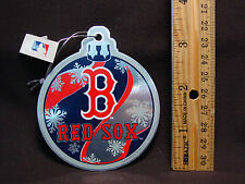 NIB MLB Boston Red Sox Steel Xmas Tree Ball Ornament Metal Baseball Sports Decor
