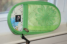 Merangue Zippered Green Floral School Pencil Case Loaded with Supplies New!