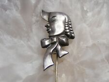 Antique Sterling Silver Little Boy Blue Bust Stickpin Signed Lang Silhouette