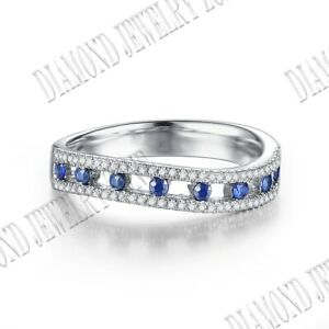 Solid 18K White Gold 1/2CT Sapphires Diamonds Gemstone Engagement Gift Band Ring