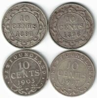 4 X NEWFOUNDLAND TEN CENTS DIMES STERLING SILVER COINS 1894 1896 1903 1917C