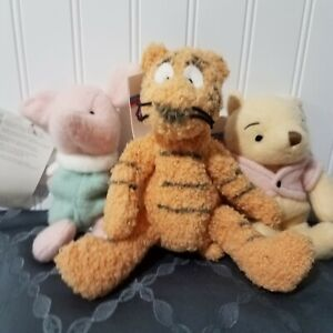 Disney Classic Winnie The Pooh Tigger Piglet MBBP Plush Beanies Lot Of 3