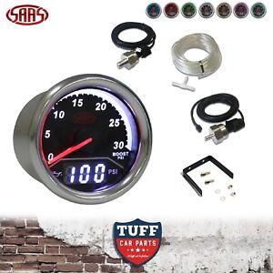 """SAAS TRAX 2 in 1 Dual Gauge Turbo Diesel Boost & Oil Pressure 52mm 2"""" Black Kit"""