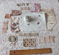 13 Antique French Victorian Doll Scale Bundle Of Silk Fabrics & Appliques c1870