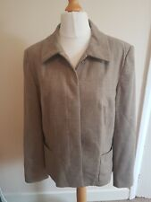Jaeger Size 16 Wool Blend Fawn Beige Button Up Jacket