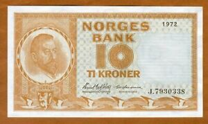 Norway, 10 Kroner, 1972, P-31 (31f), UNC