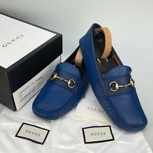$620 GUCCI Web Horsebit driving loafer moccasin blue leather 11.5 US 44.5 EUR