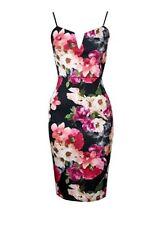 *UK* Midi Pencil Black Pink Floral Dress Formal Pretty Wedding Christening 12/14