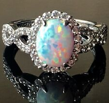 Diamonique and Synthetic Opal Ring, Sterling SZ 6