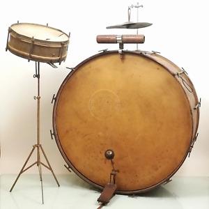 Antikes Trap-Set, ca 1925 Leedy Bass-Trommel, Sonor Snare-Drum, Rarität (DRM035)