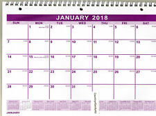 2018 SPIRAL Wire 3-Hole WALL Hanging MONTHLY Calendar PLANNER 11X8