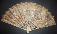 ANTIQUE FRENCH LOUIS XVI HAND PAINTED SILK EMBROIDERED FAN CHERUBS FIGURAL SCENE