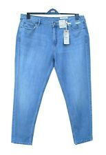 Marks & Spencer Blue Boyfriend Jeans Plus Size 18 Mid Rise with Linen