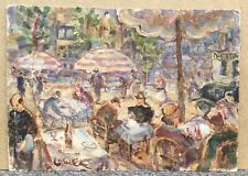 Tableau Ancien Huile Scène Terrasse Restaurant Henry George Cogle (1875-1957)